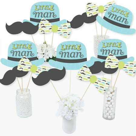 Dashing Little Man Mustache Party - Baby Shower or Birthday Party Centerpiece Sticks - Table Toppers - Set of 15](Funky Table Centerpieces)