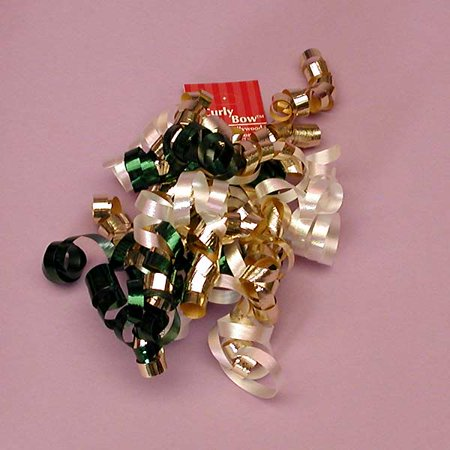 Evergreen Dark Green Metallic Gold White Decorative 5 inch Crimped Curly Ribbon Gift Bows, 24 pack - Curly Ribbon