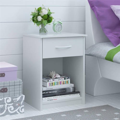 Mainstays 1-Drawer Nightstand / End Table, White