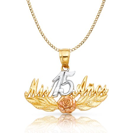 6dc98fdc8a Ioka - 14K Tri Color Gold Sweet 15 Years Quinceanera Mis 15 Anos Charm  Pendant with 2.3mm Hollow Cuban Chain Necklace - 20