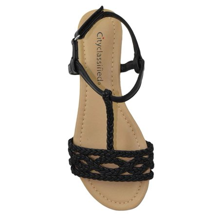 14caa1ddb72 City Classified Women Shoes Flat Sandals Velcro Ankle T-Strap ...