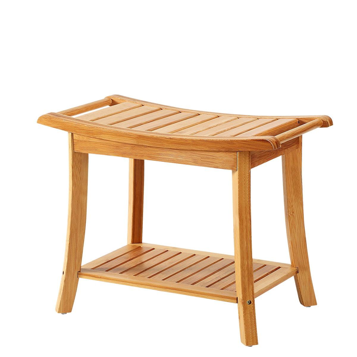 New Ridge Home Natural Bamboo Shower Bench Seat, Spa Bath Bench Shaving Stool with Storage Shelf