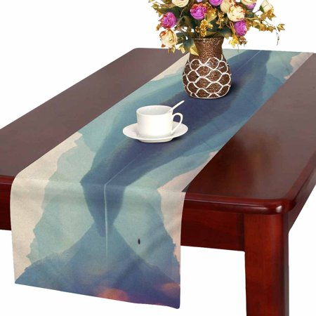 MKHERT Mountain and Lake Mist Landscapes Montana USA Nature Theme Table Runner Home Decor for Home Kitchen Dining Wedding Party 16x72 - Themes For Weddings