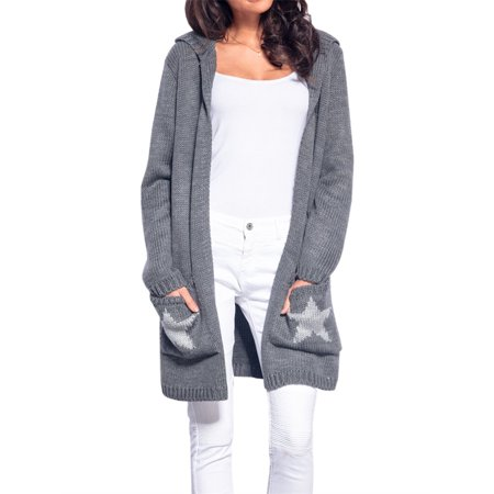 Star Print Women Long Hooded Knitted - Hooded Knit Cardigan