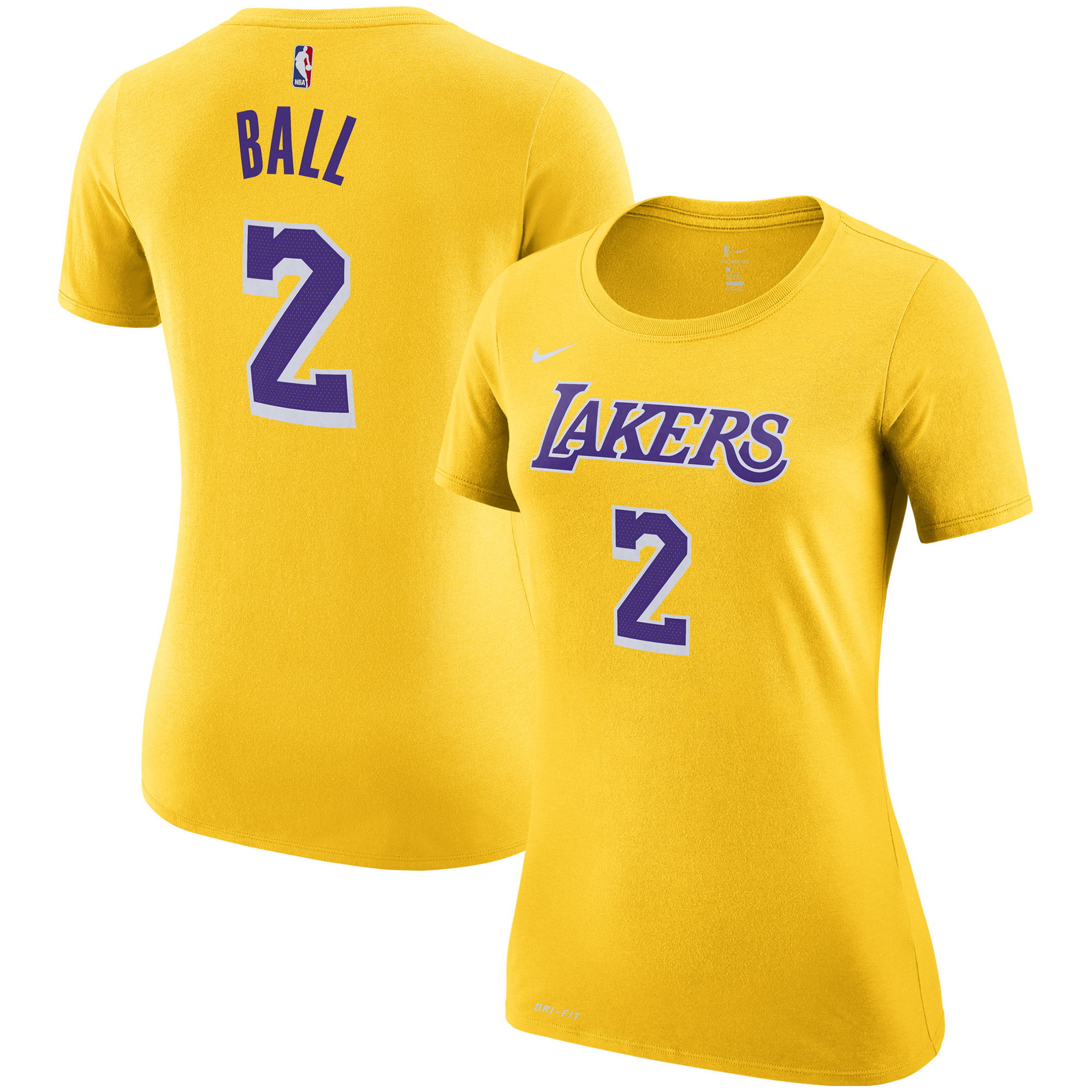 Lonzo Ball Los Angeles Lakers Nike Women's Name & Number Performance T-Shirt - Gold