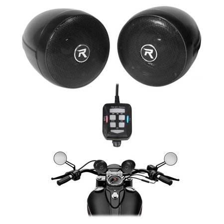 Rockville Motorcycle Audio System w/ Handlebar Speakers For Royal Enfield (Best Handlebar For Royal Enfield)