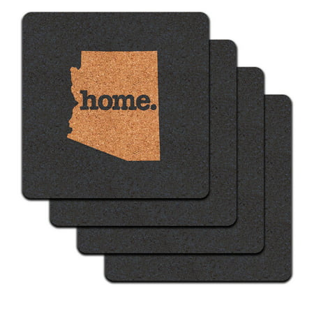 Arizona AZ Home State Low Profile Cork Coaster Set - Solid Navy Blue