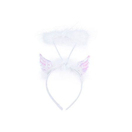 Lux Accessories White Angel Wings Furry Feather Halo Costume Fashion Headband](Halloween Angel Wings And Halo)