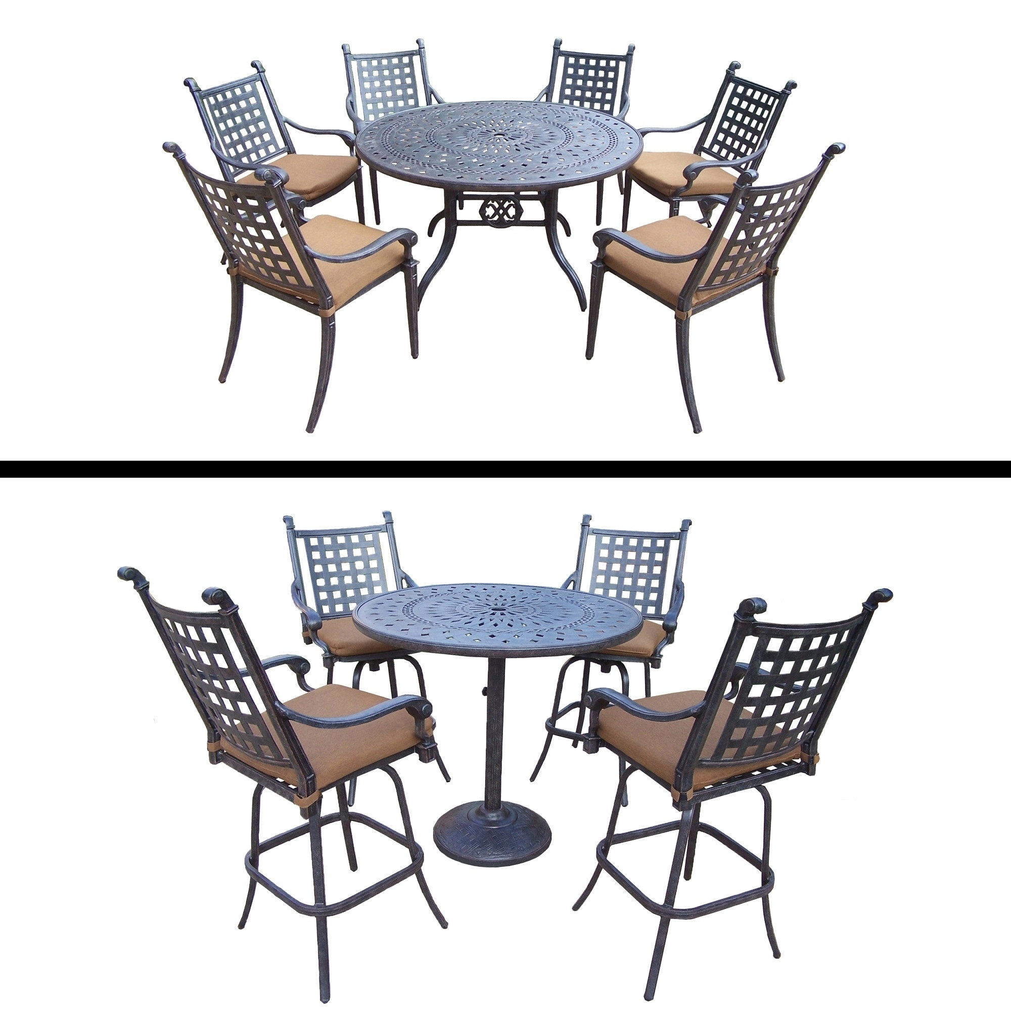 Oakland Living 5 Pc Bar Set and 7 Pc Dining Room Set and Sunbrella Cushions by Overstock