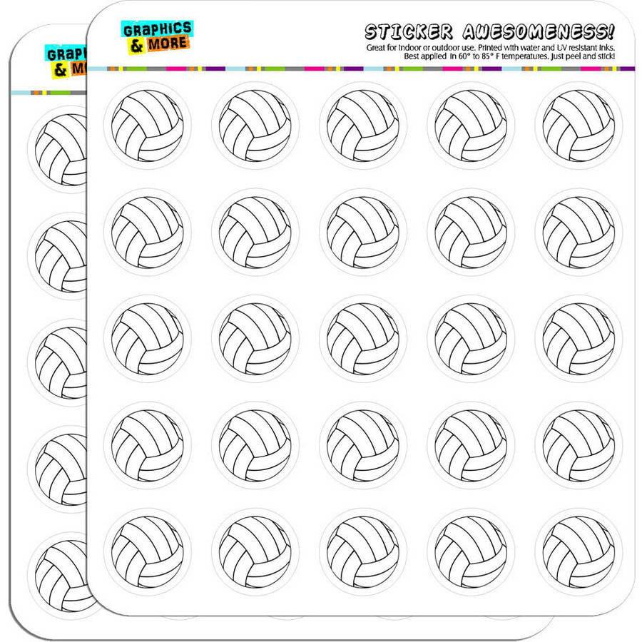 "Cartoon Volleyball 50 1"" Planner Calendar Scrapbooking Crafting Stickers"