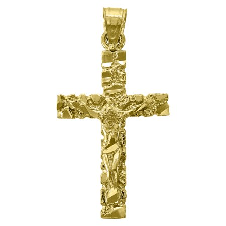14kt Gold Mens DC Nugget Cross Crucifix Ht:32.8mm Religious Pendant Charm