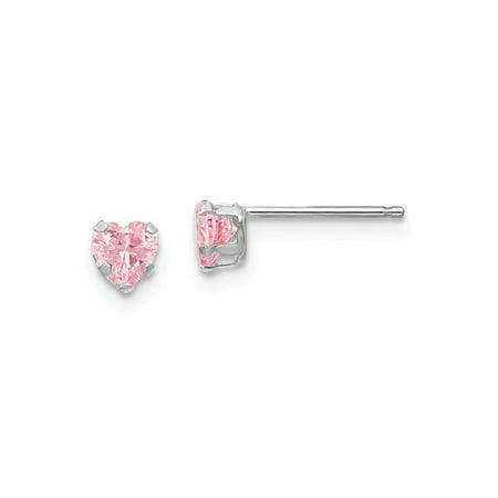 14k White Gold Madi K Childrens 4mm Pink Cz Heart Earrings 4x4 Mm