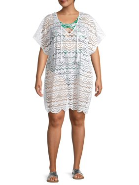 Time and tru women's plus size lace up crochet swim cover up