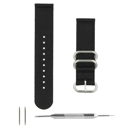Black Ballistic Nylon 2-Piece Zulu Watchband + Spring Bar Tool (20 & 22mm) (Zulu Watch Strap)