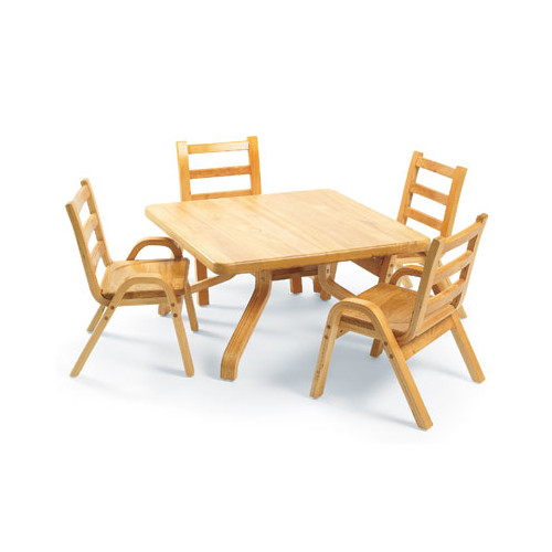 Angeles NaturalWood 12'' Square Toddler Table And Chair Set by Angeles