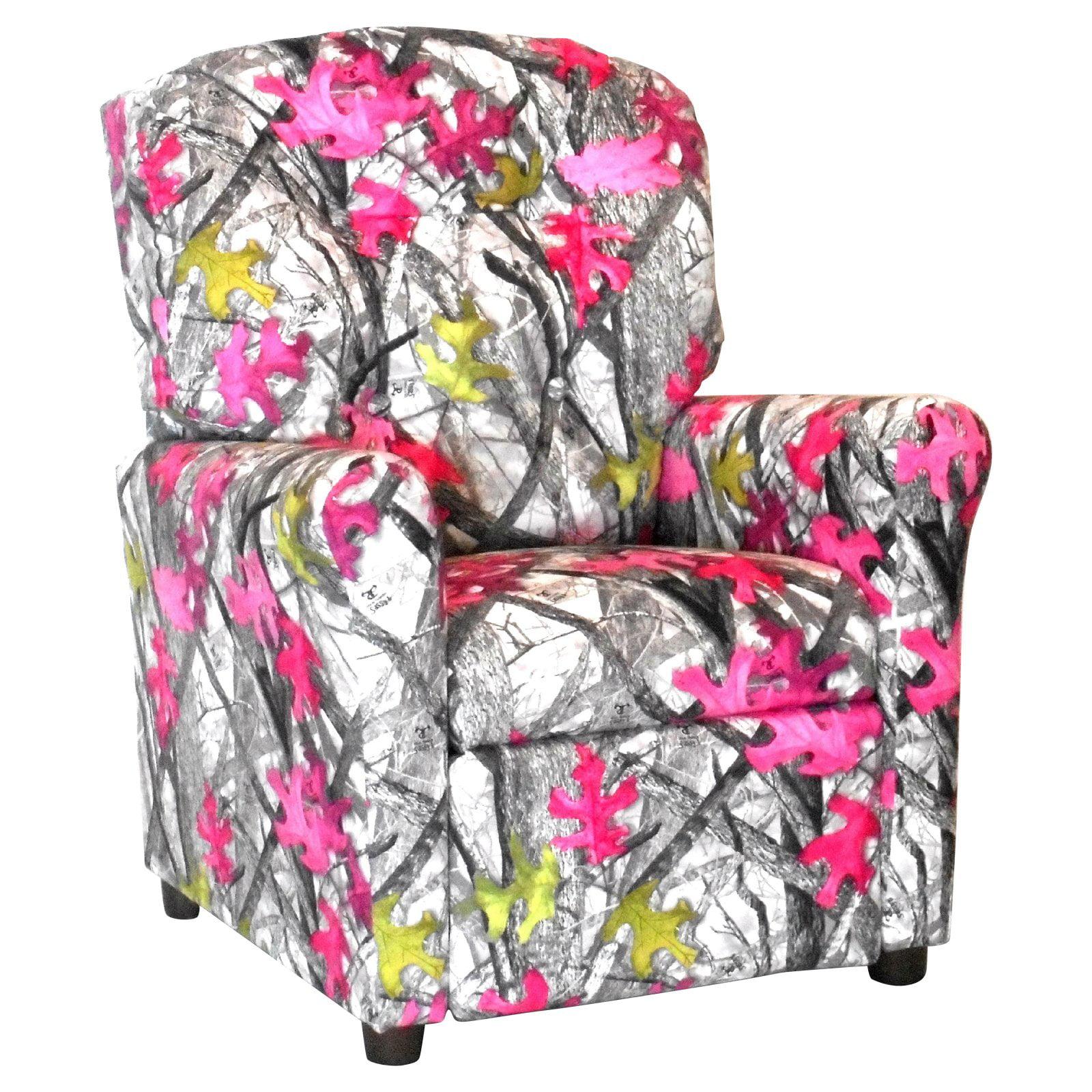 Brazil Furniture 4-Button Back Child Recliner - Sassy Camo Gray