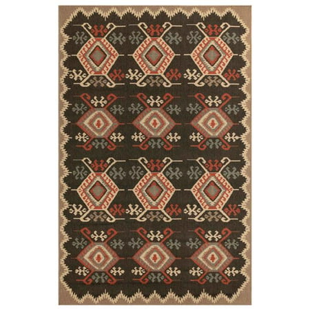 Trans-Ocean Imports RVI58764548 4 ft. 10 in. x 7 ft. 6 in. Liora Manne Riviera Kilim Indoor & Outdoor Wilton Woven Rectangle Rug - Black - image 1 of 1