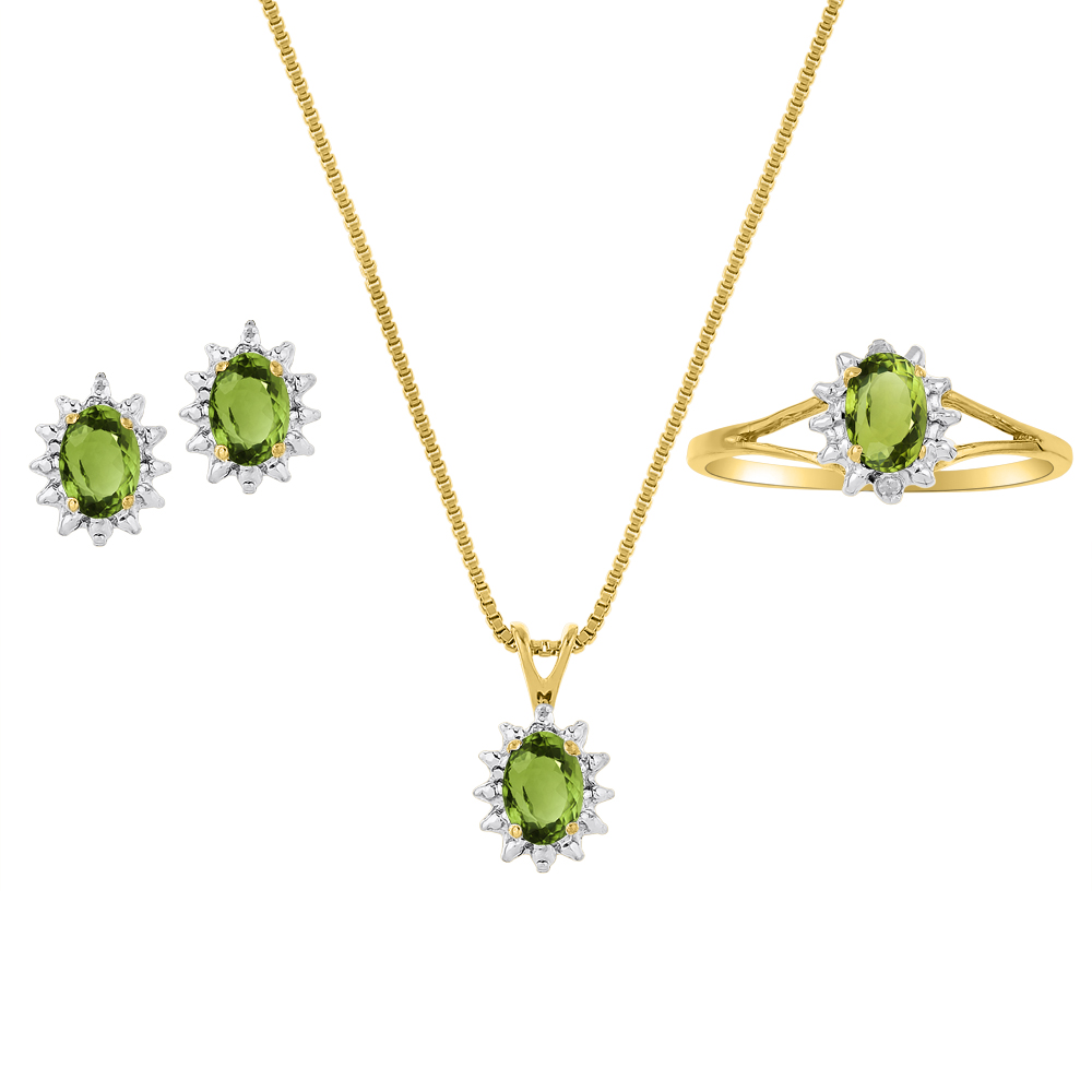 Genuine Natural Peridot & Diamond Pendant, Earrings & Ring Set in 14K Yellow Gold Plated silver with Chain and Gift Box