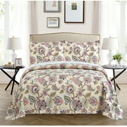 All American Collection New 2pc Printed Modern Floral Bedspread Coverlet (Twin, Beige)