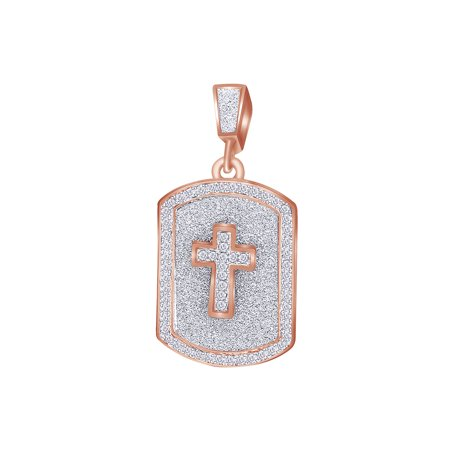 2 Carat (Ctw) Round White Natural Diamond Iced Out Hip Hop Dog Jewelry Tag Cross Pendant 14k Solid Rose
