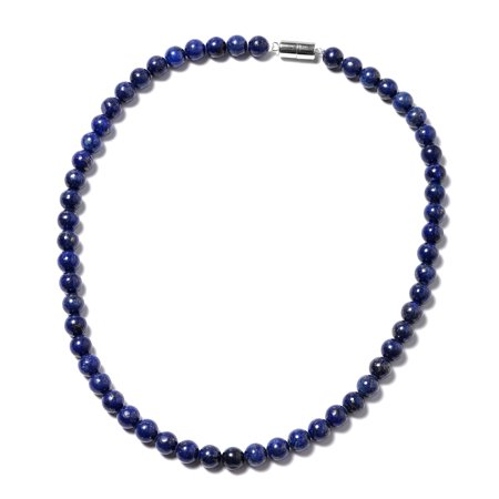 925 Sterling Silver Lapis Lazuli Beads Strand Necklace for Women Jewerly Gift 18