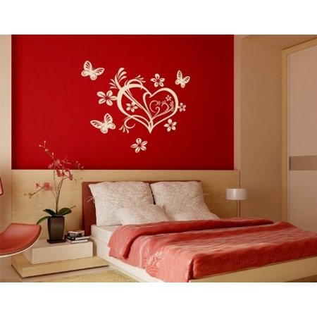 Number 15in Heart (Floral Valentine Heart with Butterflies Wall Decal - romantic Wall Sticker, Vinyl Wall Art, Home Decor, Wall Mural - 3717 - White, 16in x 15in)