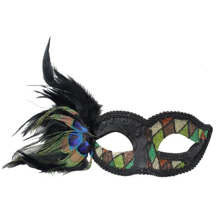 FANCY VENETIAN MASK - Peacock Feathers - MASQUERADE (Black And Green Masquerade Mask)