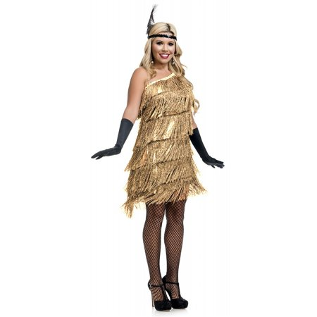 Slant Fringe Flapper Adult Costume Gold - - Fringe Flapper Costume