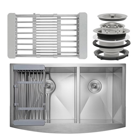 "AKDY KS0126 33"" x 22"" x 9"" Apron Farmhouse Handmade Stainless Steel Double Bowl 60/40 Kitchen Sink w/ Drain Strainer Kit Adjustable Tray"