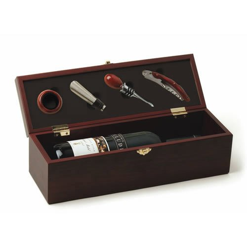 Wine Accessory Box, Fine Cherry 4-piece Wood Essential Wine Gift Accessories
