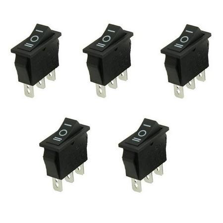 5x SPDT 3-Position On/Off/On Rectangular Rocker Car Switch 15A 250V/20A 125V AC