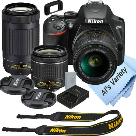 Nikon D3500 DSLR Camera Kit with 18-55mm VR + 70-300mm Zoom Lenses Built-in Wi-Fi24.2 MP CMOS Sensor EXPEED 4 Image Processor and Full HD 1080p Video Recording at 60 fps SnapBridge Bluetooth Con