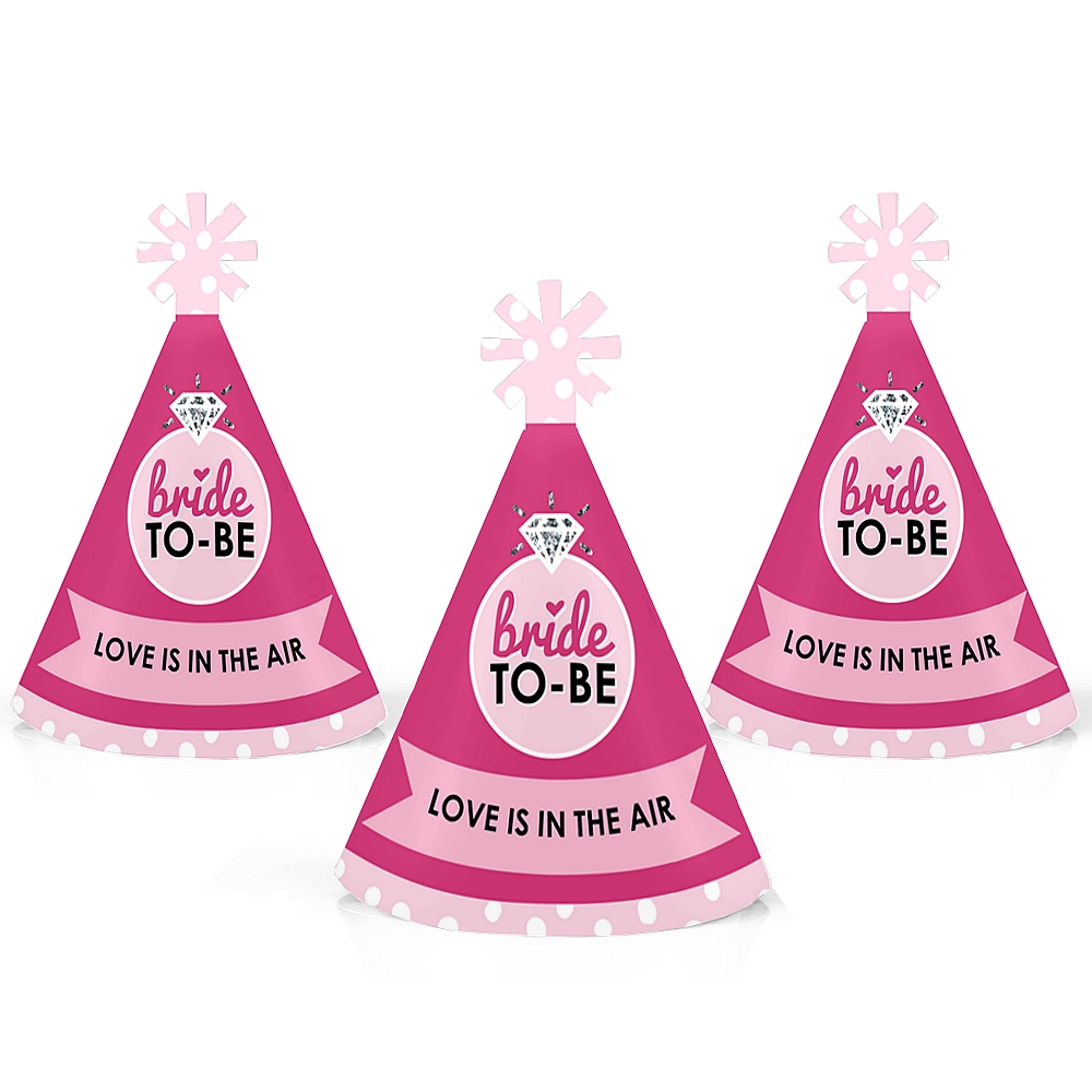 Bride-To-Be - Mini Cone Bridal Shower or Classy Bachelorette Party Hats - Small Little Party Hats - Set of 10