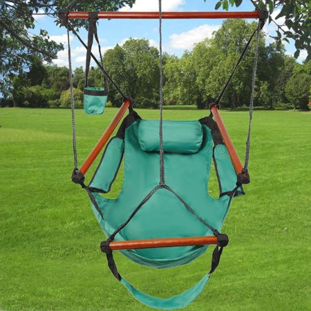 Hammock Chair (Ktaxon Hanging Garden Patio Yard Green Leisure Swing Hammock Chair Rope Hanging Swing Camping 250lb Multicolor )