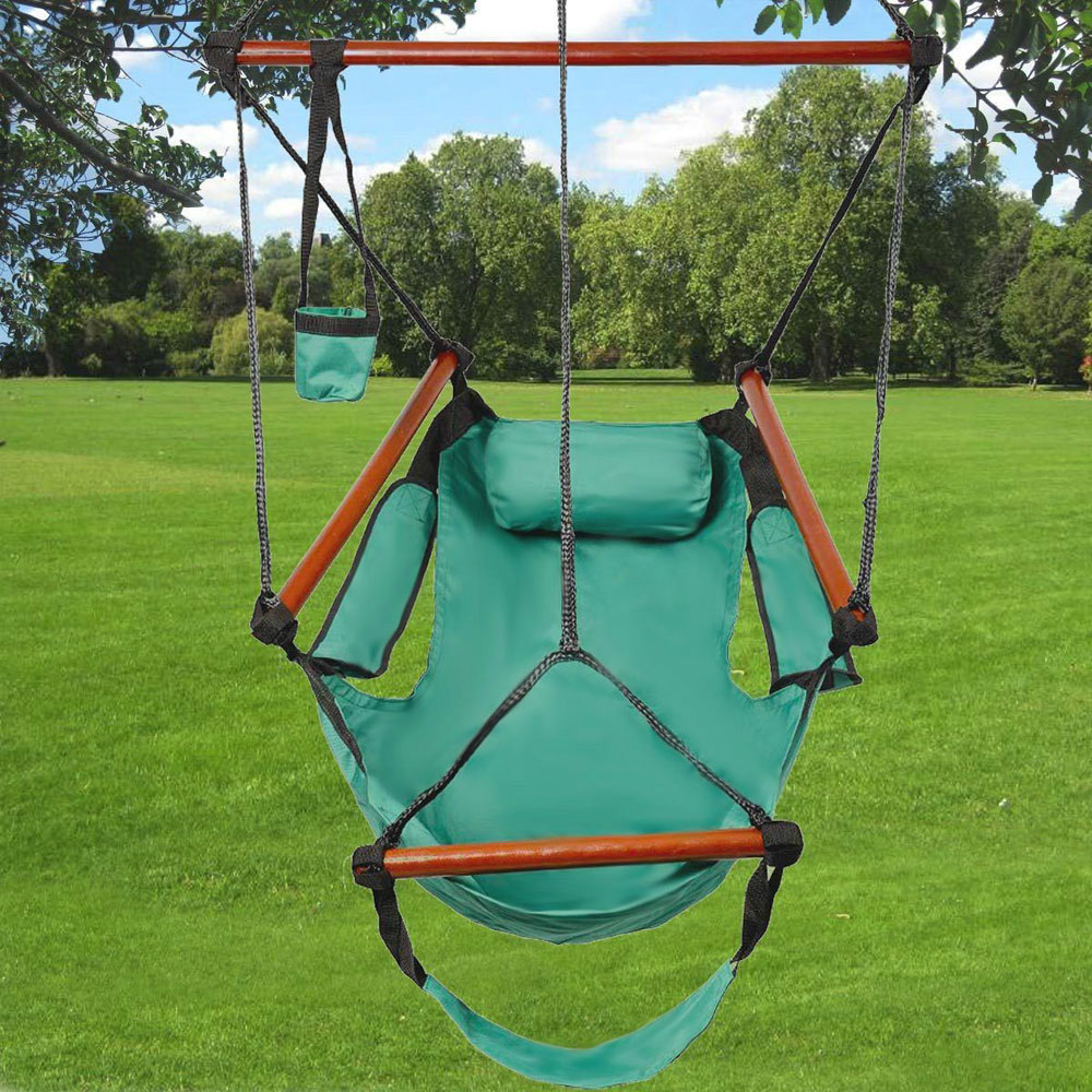 Ktaxon Hanging Garden Patio Yard Green Leisure Swing Hammock Chair Rope Hanging Swing Camping 250lb Multicolor