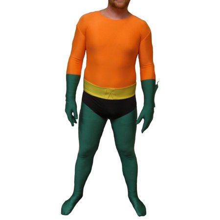 Aquaman Adult Costume Lycra Body Suit Spandex Mens DC Aqua Man Superhero - Male Super Hero