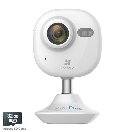EZVIZ Mini Plus 1080p Wireless Wifi Indoor Security Camera with 32GB  MicroSD, White
