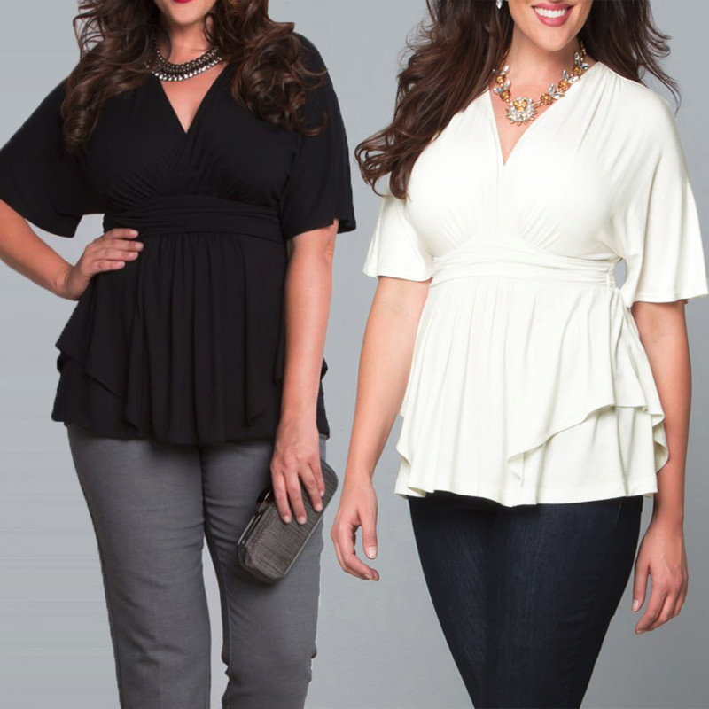 NEW Plus Size Sexy Women V Neck Summer Loose Blouse Batwing Sleeve Shirt Tops,Black color