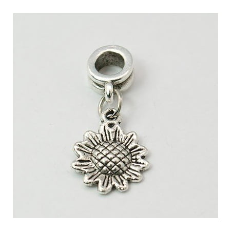 Antique Silver Finish Sunflower Dangle Charm Bead. Compatible With Most Pandora Style Charm Bracelets. (Sunflower Charm)