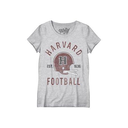 Tee Luv Women's Harvard University Football (Distance From New York To Harvard University)