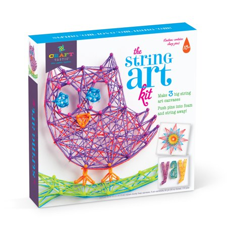 Craft-tastic String Art Craft Kit by Ann Williams Group, Makes 3 Large String Art Canvases