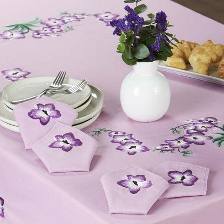 Herrschners® Purple Orchids Napkins Stamped -