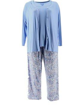 Carole Hochman Batik Floral 3 Pc Pajama Set A346781