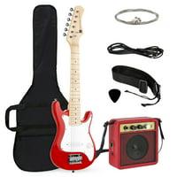 Best Choice Products 30in Kids Electric Guitar Beginner Starter Kit w/ 5W Amplifier, Strap, Case, Strings, Picks - Red