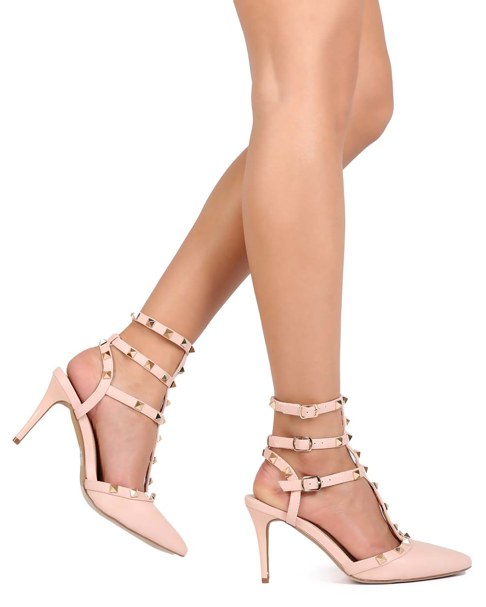 Pink Candy Stud Cage Pointed T-bar Ankle Stiletto Gladiator Party Pumps