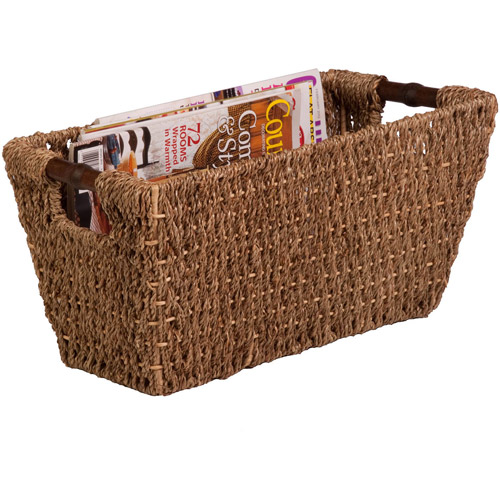 Honey Can Do Medium Seagrass Basket with Handles and Iron Frame, Brown