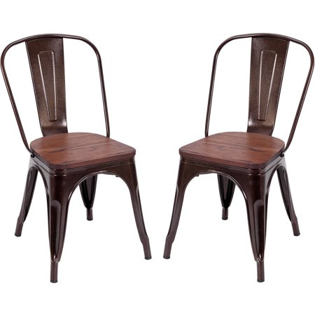 (Costway Set of 2 Dining Side Chair Stackable Bistro Metal Wood Stool Copper)