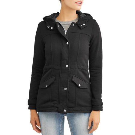 Women's Sherpa Lined Fleece Jacket with Hood and Zip Snap Closures