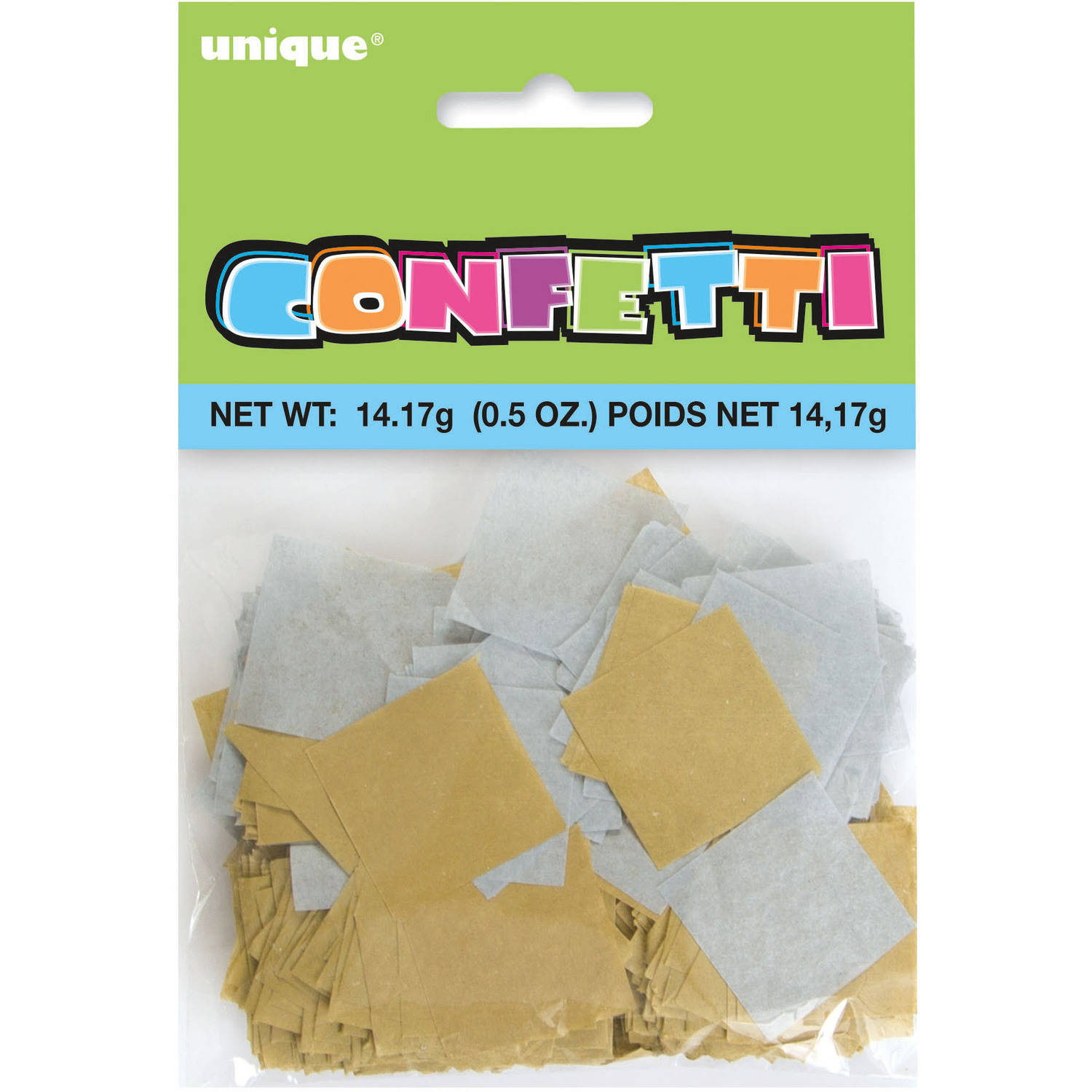 Square Tissue Paper Confetti, 1 in, Gold and Silver, 0.5 oz