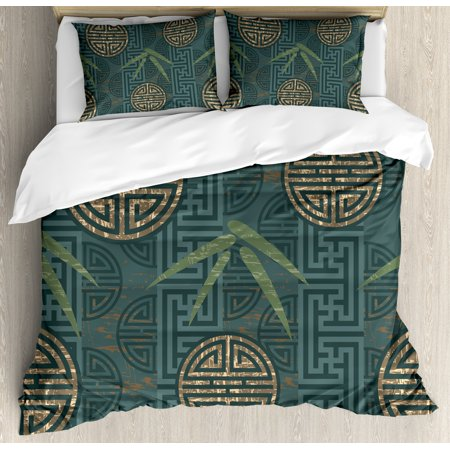 Bamboo Queen Size Duvet Cover Set, Authentic Asian Composition with Oriental Motifs Leaves Eastern Elements, Decorative 3 Piece Bedding Set with 2 Pillow Shams, Green Tan Slate Blue, by